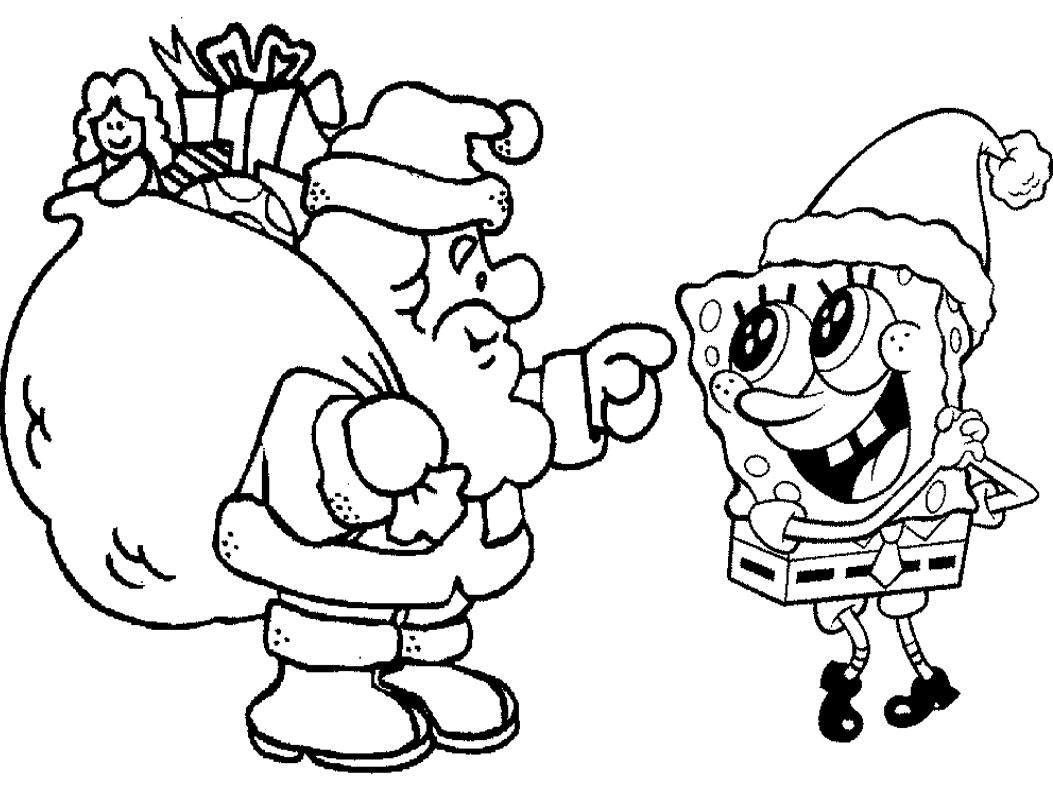 Desenho De Papai Noel E Bob Esponja Para Colorir