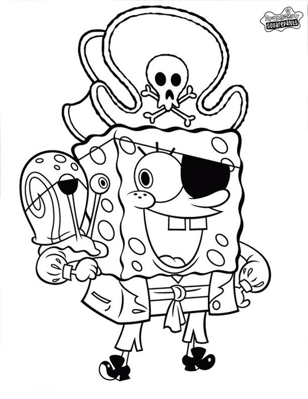 gary the snail coloring pages - desenho de pirata bob esponja e gary para colorir