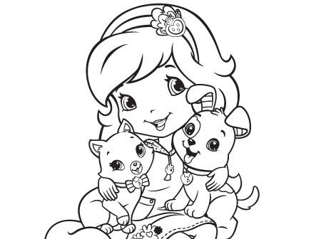 desenho de moranguinho e seus bichinhos de estimação para colorir