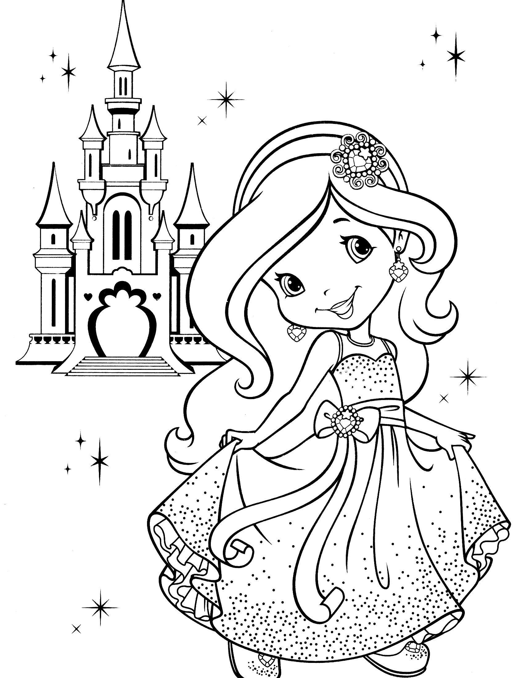 desenho de princesa moranguinho no castelo para colorir tudodesenhos