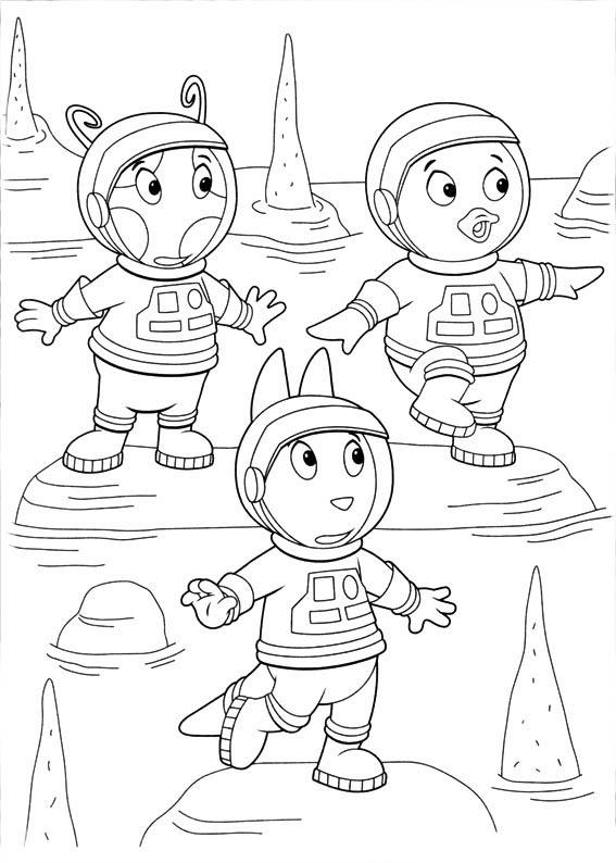 desenho de austin pablo e uniqua de backyardigans no lago para