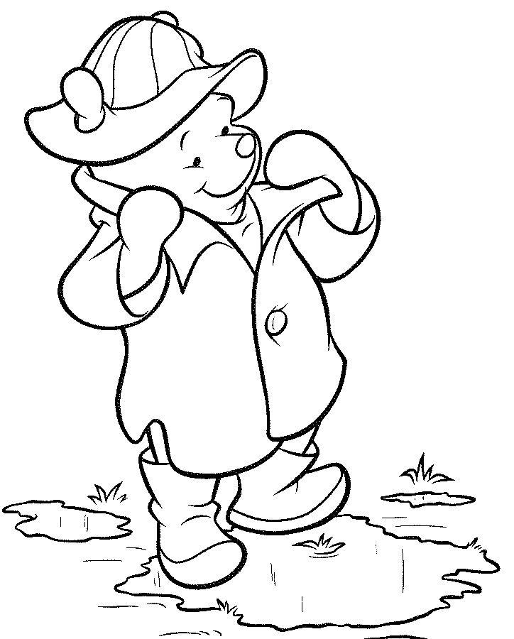Desenho De Ursinho Pooh Na Chuva Para Colorir Tudodesenhos