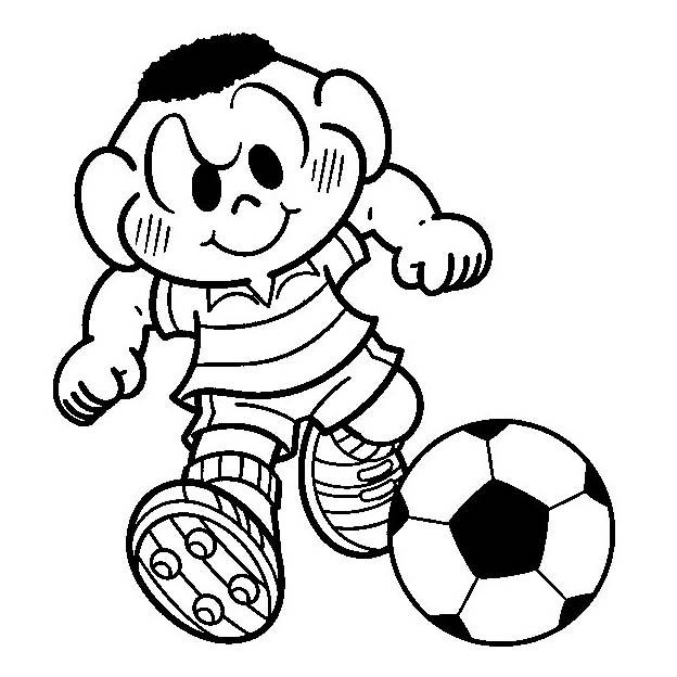 Desenho De Cascão Atacante De Futebol Para Colorir