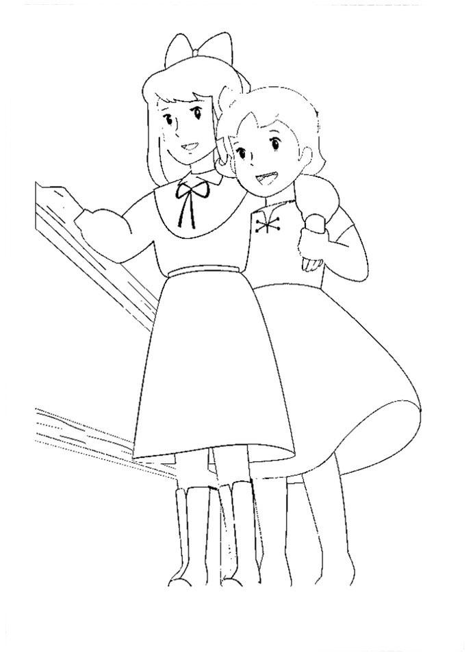 Desenho de heidi e sua amiga cega para colorir tudodesenhos - Coloriage heidi ...