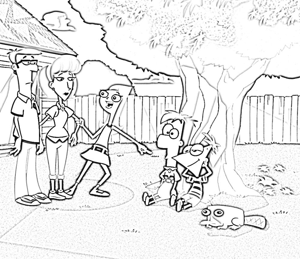 Desenho De Família De Phineas E Ferb Para Colorir
