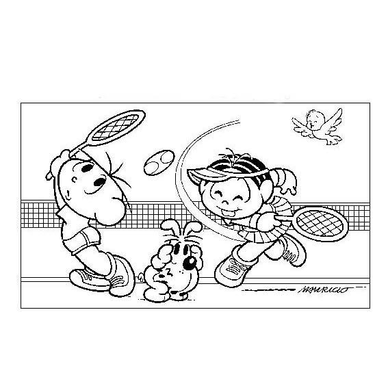 desenho de monica e cebolinha jogando tênis para colorir tudodesenhos