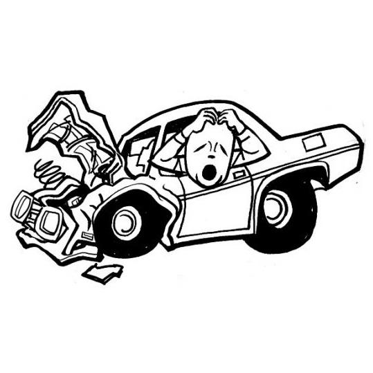 Desenho de Carro chocado para colorir - Tudodesenhos
