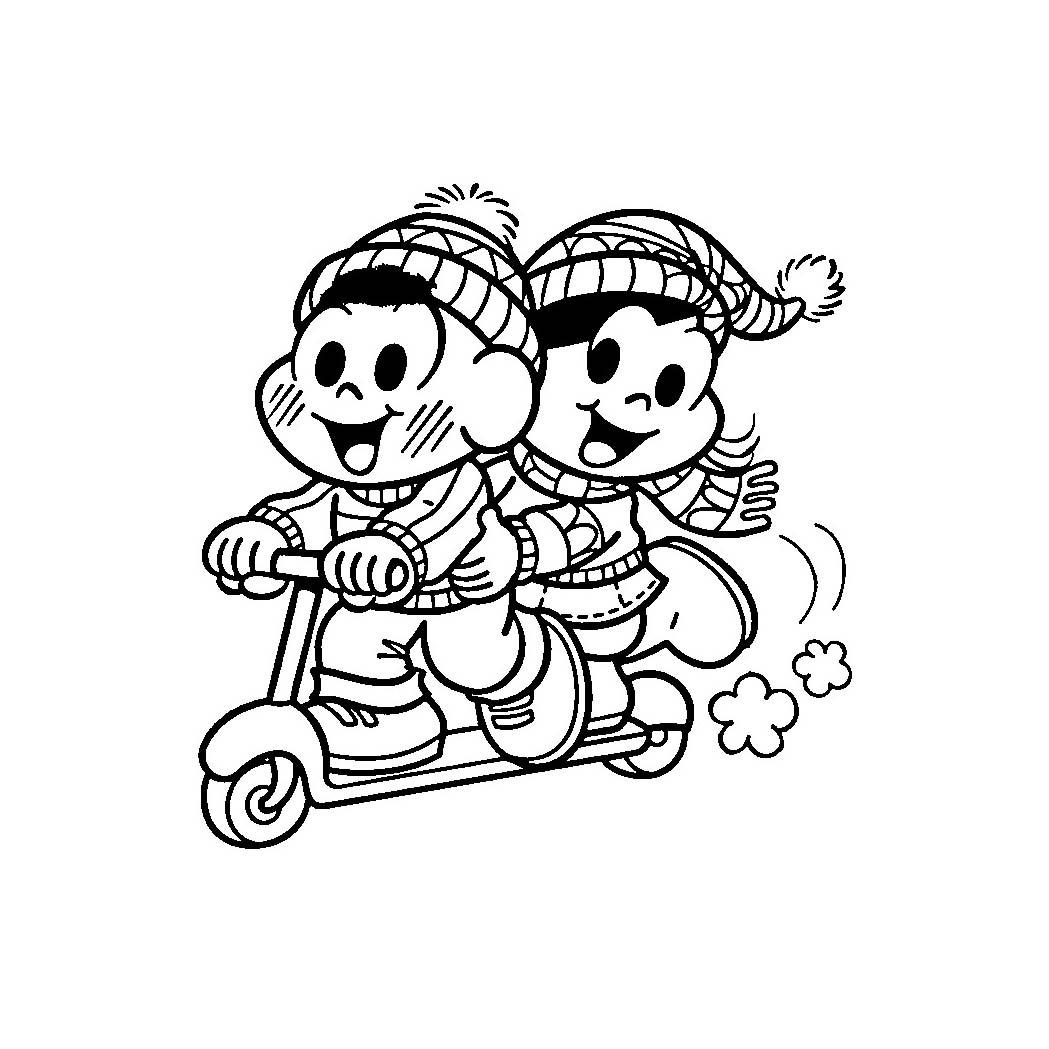 Desenho De Magali E Casc 227 O Andando De Patinete Para