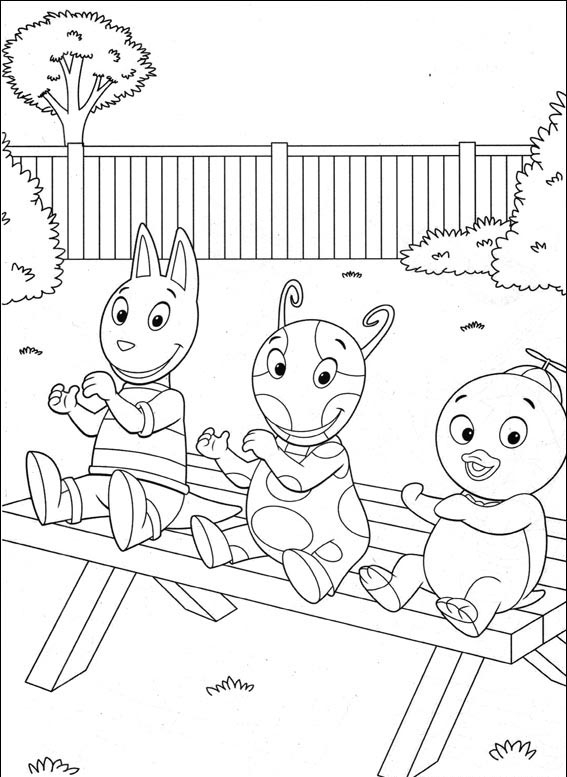 desenho de austin uniqua e pablo no parque para colorir tudodesenhos