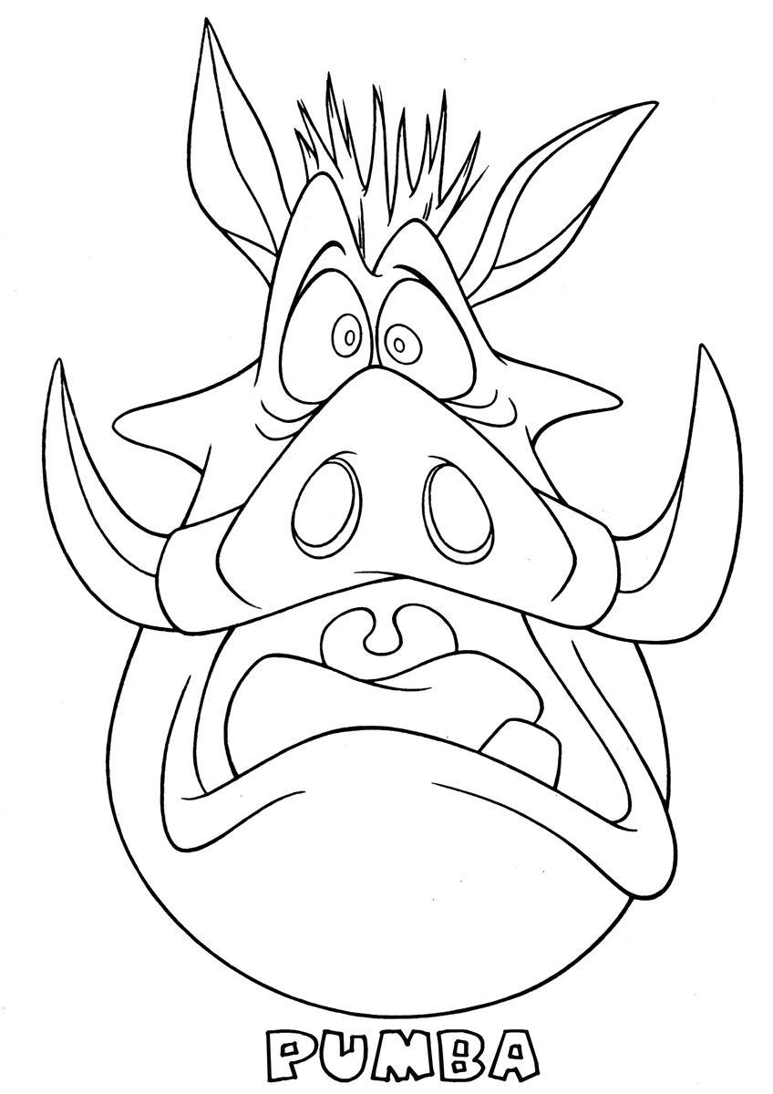 Desenho de Pumba assustado para