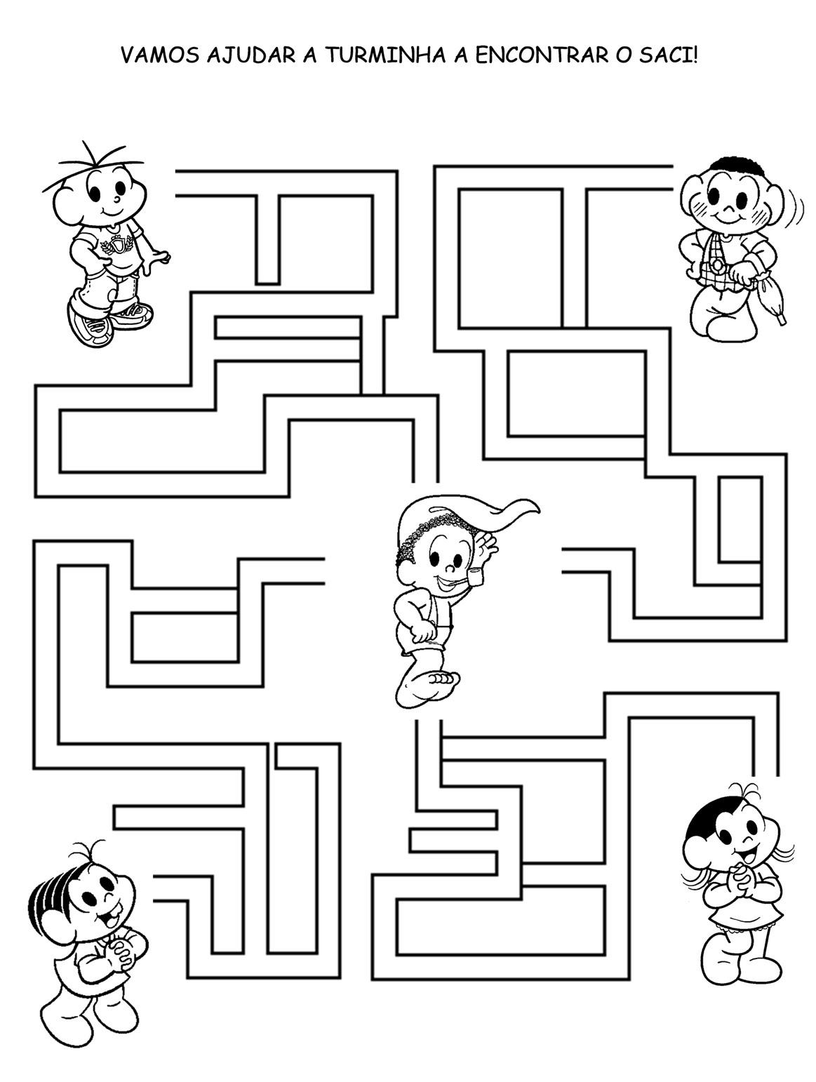 desenho de jogo do labirinto turma do chico bento para colorir
