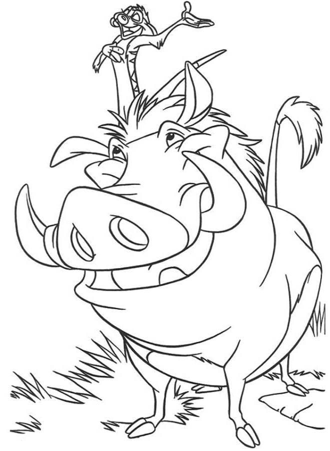 desenho de timão e pumba cantando para colorir tudodesenhos