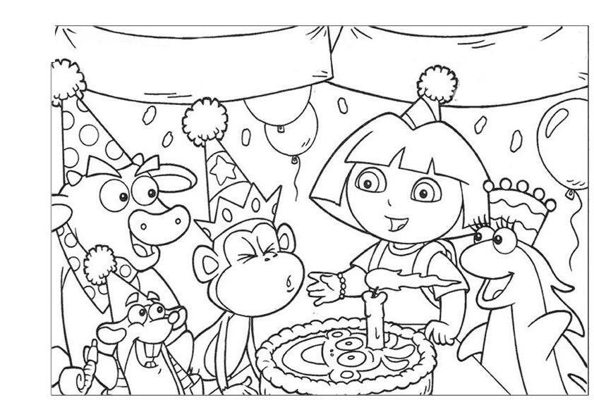 Desenho De Aniversário Dora Aventureira Para Colorir