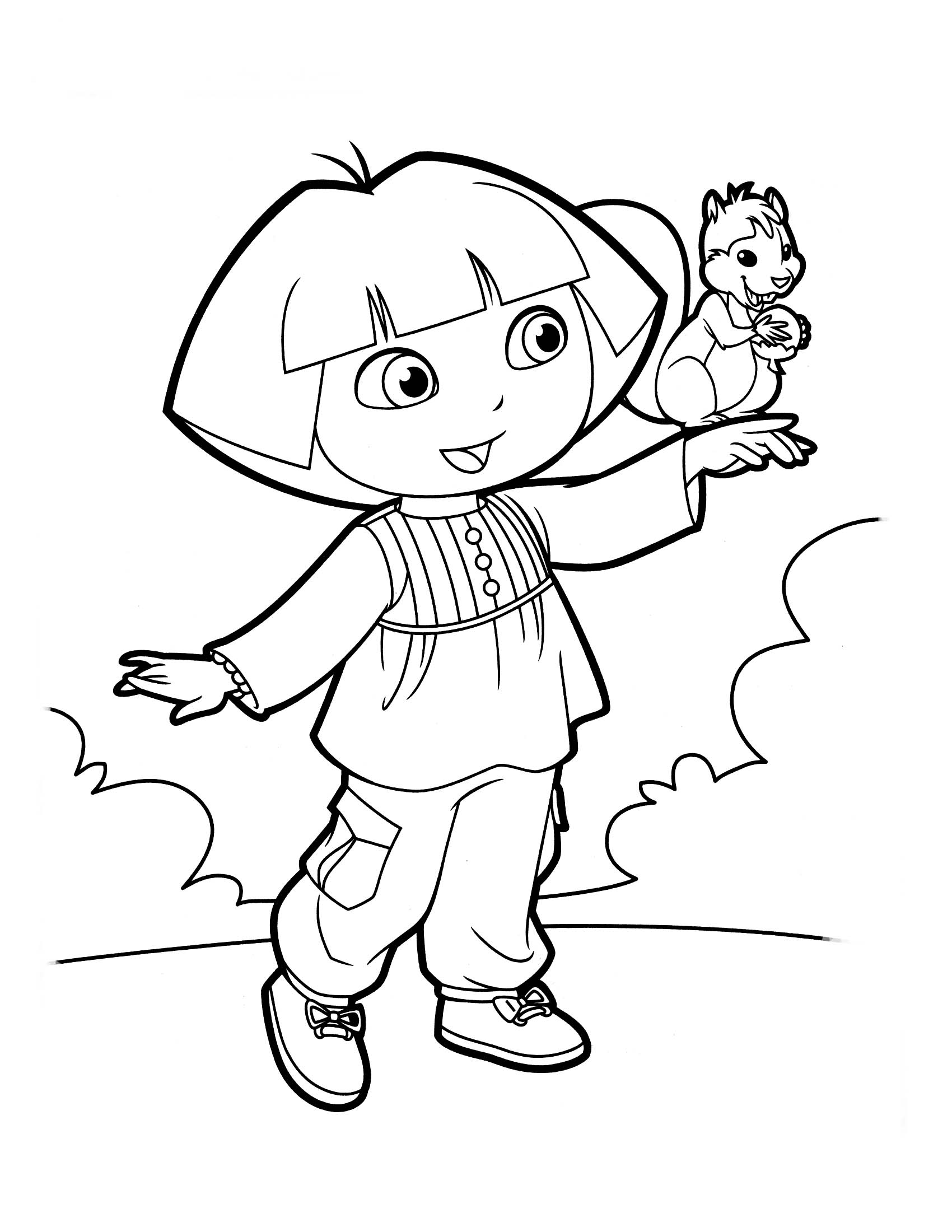 Desenho De Dora Aventureira E O Esquilo Para Colorir