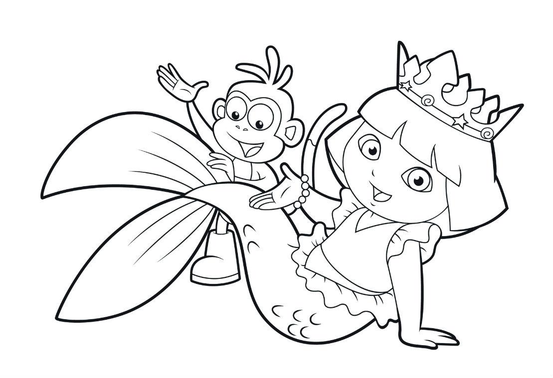 Desenho De Dora Aventureira Sereia Para Colorir