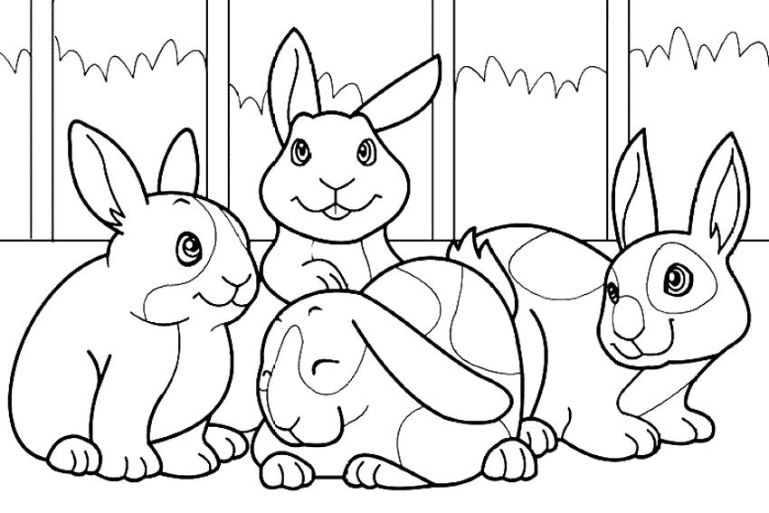 Desenho De Coelhos Amigos Para Colorir