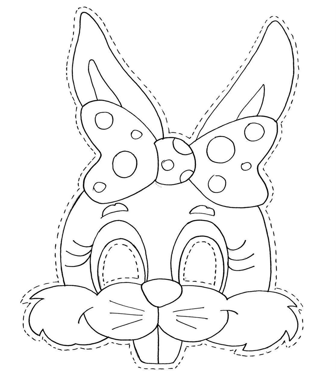 Desenho De Máscara De Coelhinha Da Páscoa Para Colorir