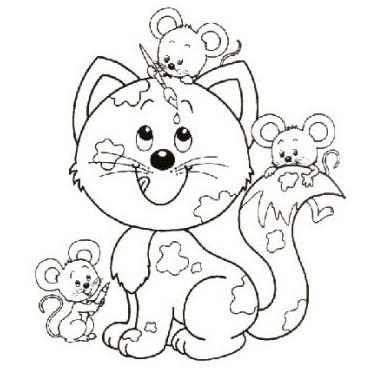 desenho de gato e amigos ratinhos para colorir tudodesenhos