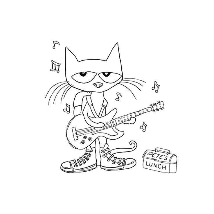 desenho de gato guitarrista para colorir tudodesenhos
