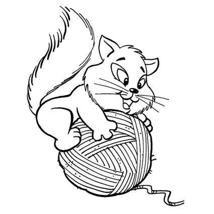 Desenho de Gato no novelo de lã para colorir - Tudodesenhos Cantando Na Chuva