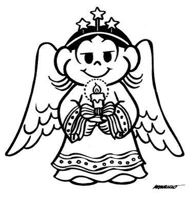 Desenho De Anjo De Natal Turma Da Monica Para Colorir