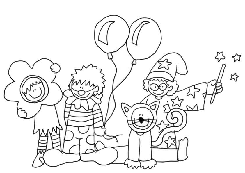 Desenho De Crianças Na Festa De Carnaval Para Colorir