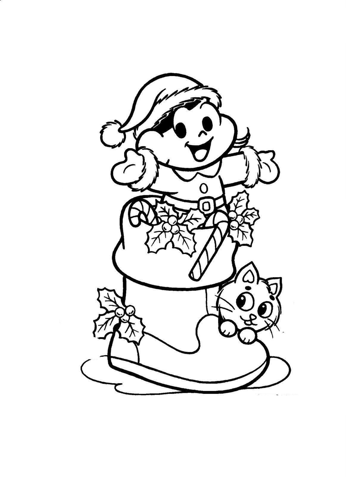 Desenho De Magali Na Meia De Natal Para Colorir Tudodesenhos
