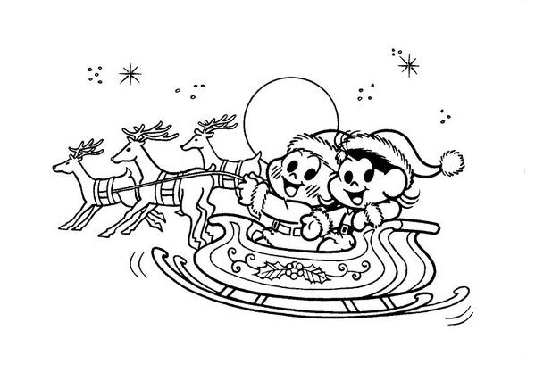 Desenho De Turma Da Monica No Trenó Do Papai Noel Para