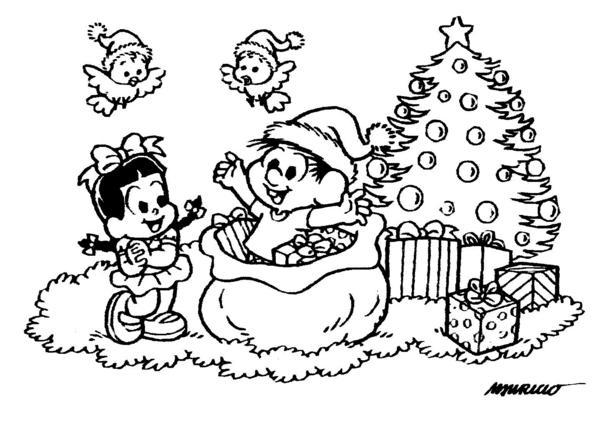 Desenho De Chico Bento No Saco Do Papai Noel Para Colorir