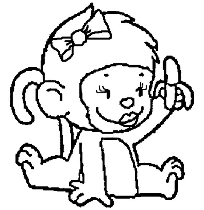 Desenho De Macaquinha Comendo Banana Para Colorir Tudodesenhos