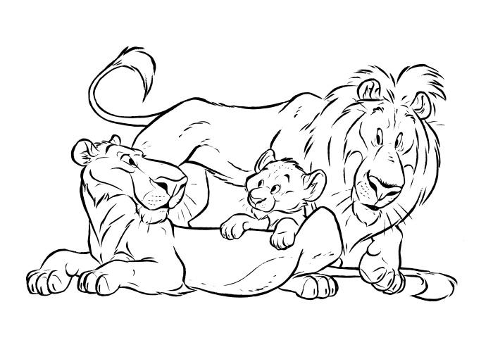 Desenho De Familia De Leoes Para Colorir Tudodesenhos
