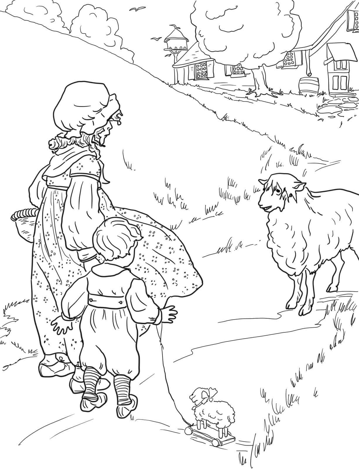 desenho de crianças e ovelha para colorir tudodesenhos