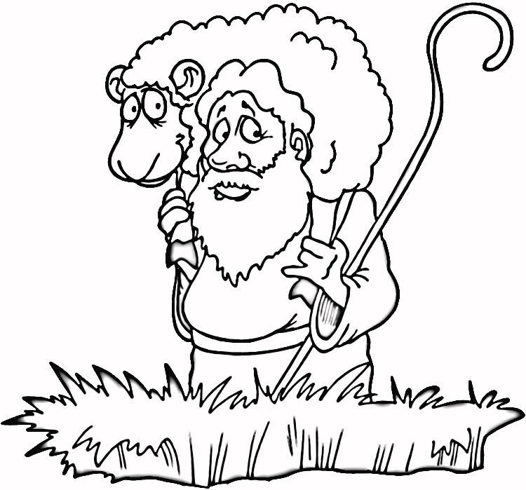 desenho de pastor carregando ovelha para colorir tudodesenhos