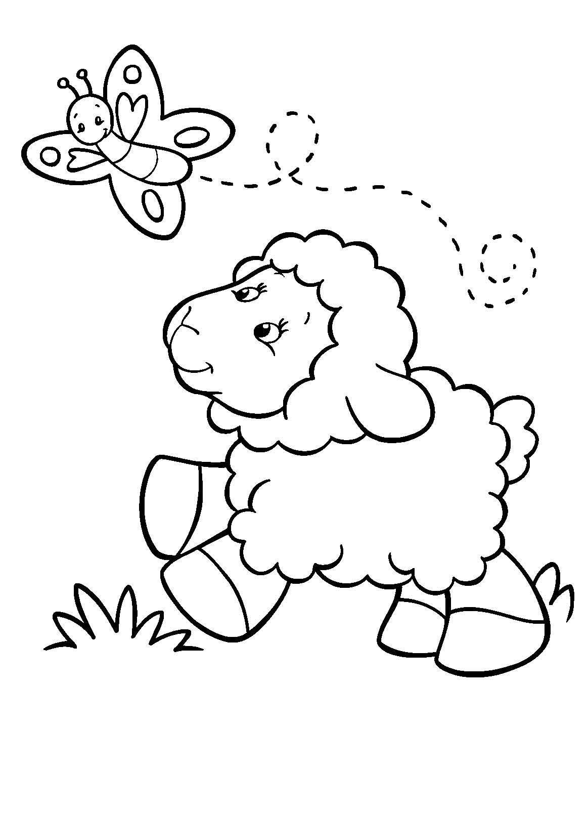 Desenho De Ovelha E Borboleta Para Colorir Tudodesenhos