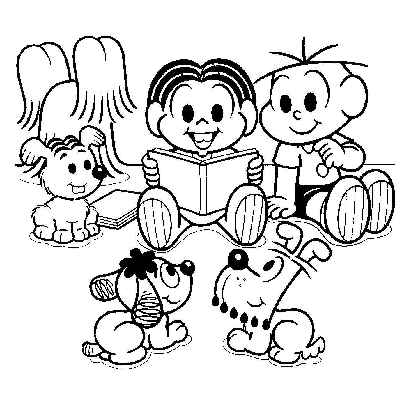 Desenho De Turma Da Monica Na Hora Da Leitura Para Colorir