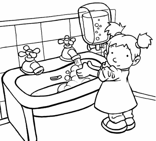 Imagens De Banheiro Para Colorir : Desenho de menina lavando m?os na pia para colorir