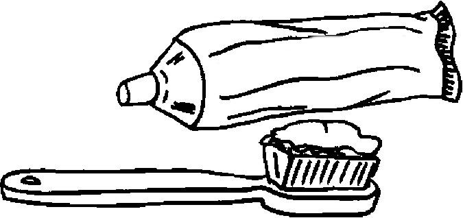 desenho de pasta de dentes na escova para colorir