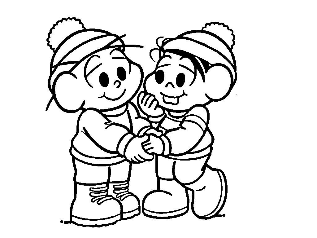 desenho de monica e cebolinha   roupas de inverno para