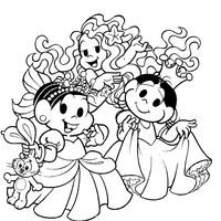 Desenho de Monica e Magali princesas para colorir