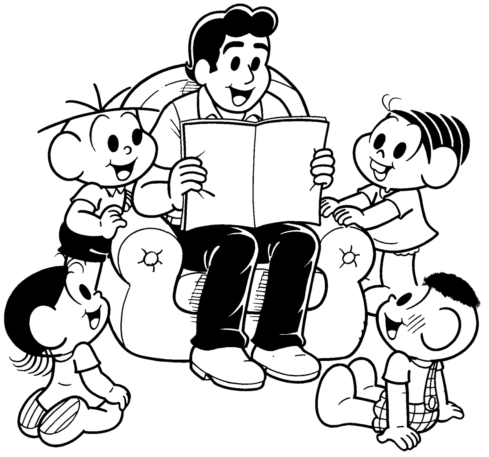 desenho de papai do cebolinha lendo livro para a turma para colorir