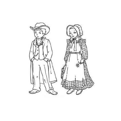 desenho de roupas do velho oeste para colorir tudodesenhos