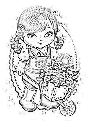 Desenho De Boneca Jolie Carregando Carrinho De Flores Para Colorir