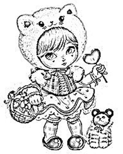 Desenho De Boneca Jolie Com Capuz De Ursinho Para Colorir
