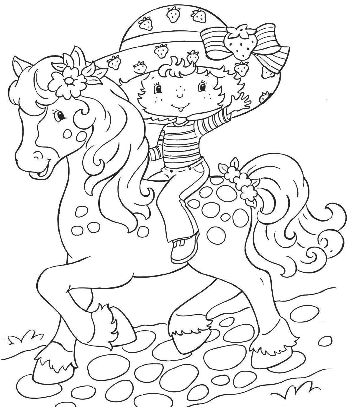 desenho de moranguinho a cavalo para colorir tudodesenhos