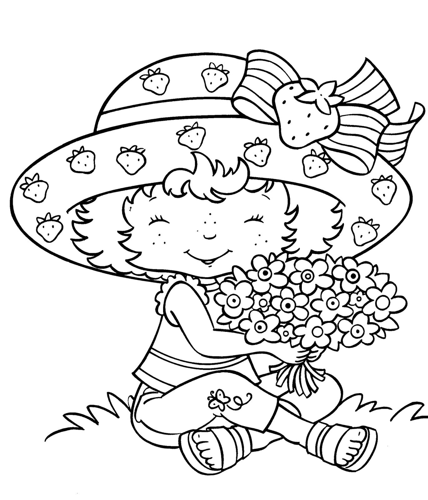 Desenho De Moranguinho E Buquê De Flores Para Colorir