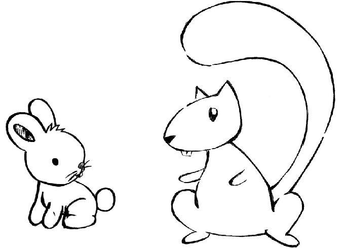 desenho de esquilo e coelhinho para colorir tudodesenhos