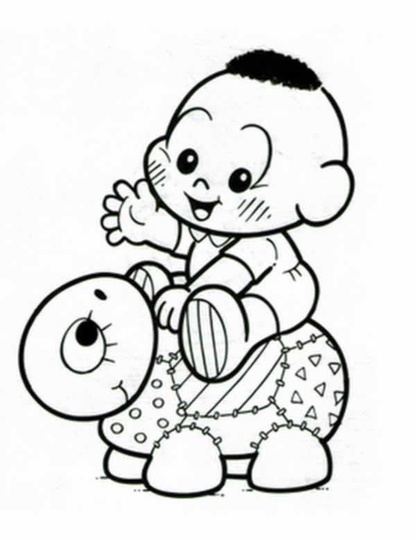 Desenho De Cascao Baby Montando Tartaruguinha Para Colorir
