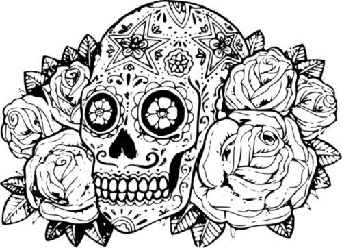 Desenho De Caveira Com Rosas Para Colorir Tudodesenhos