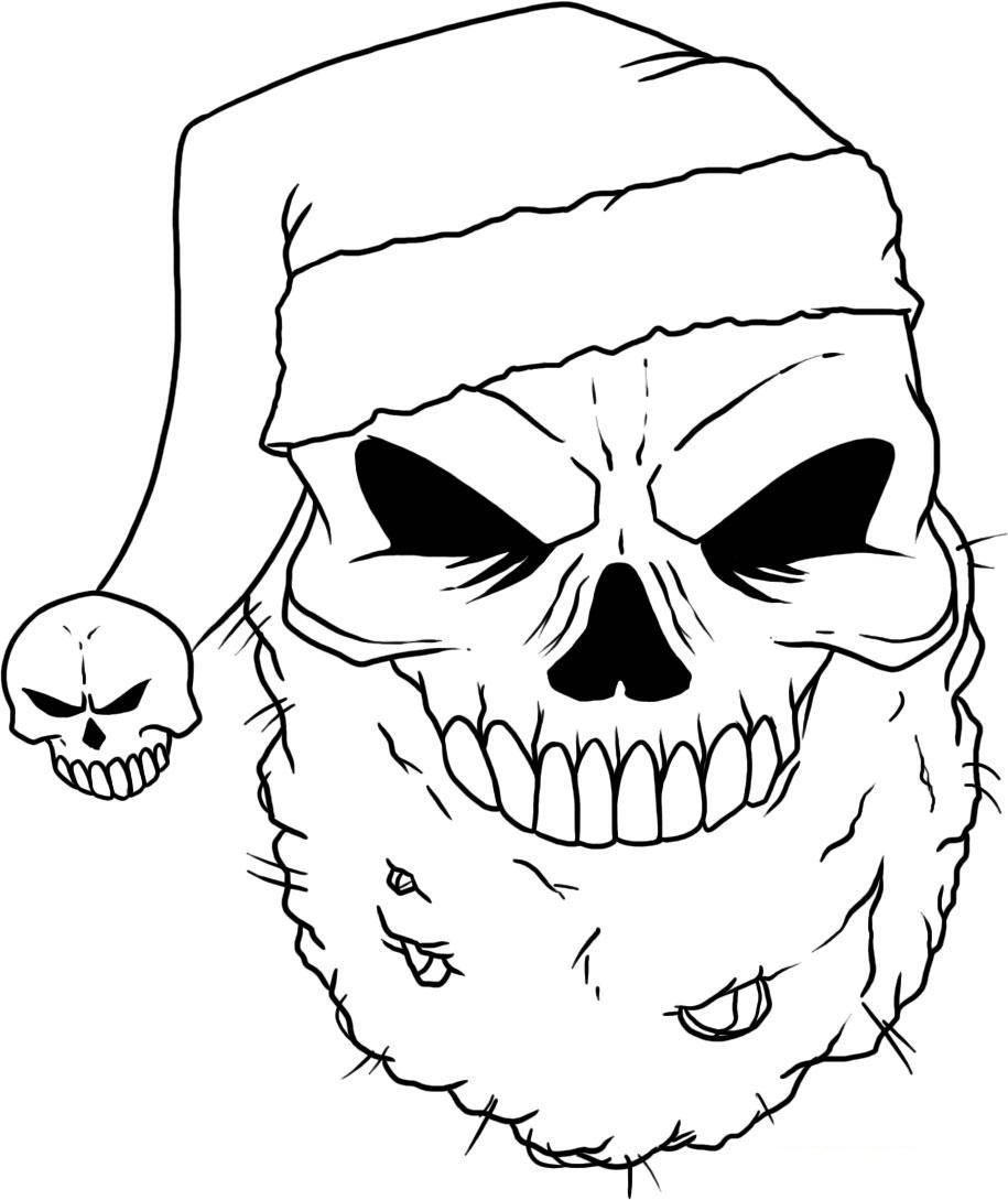 Desenho de Caveira natalina para colorir Tudodesenhos