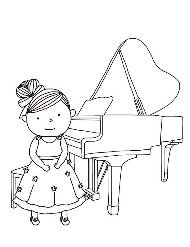 piano coloring pages free - desenho de menina tocando piano para colorir tudodesenhos